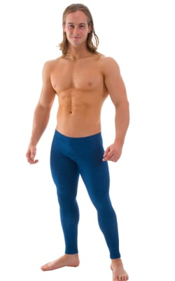 Mens Low Rise Leggings Tights in Blue Denim Cotton Lycra