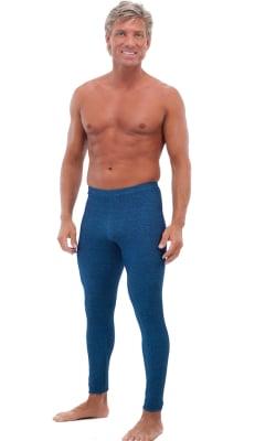 Mens Leggings Tights in Blue Denim cotton/lycra