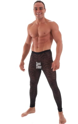 Mens Semi Sheer Leggings Tights in Stretch Black Wavey Laise