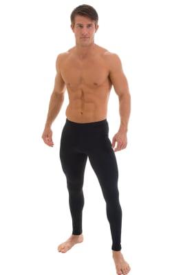 Mens Leggings Tights in Microfiber Thermal Black