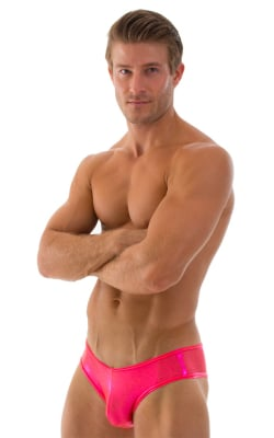 Mens Hot Pants Sexy Short Shorts in Metallic Mystique Orangeade Fuchsia