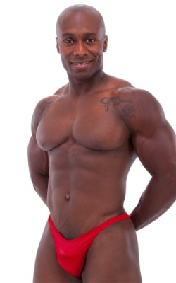 Bodybuilder Posing Suit - Narrow Back in Wet Look Red