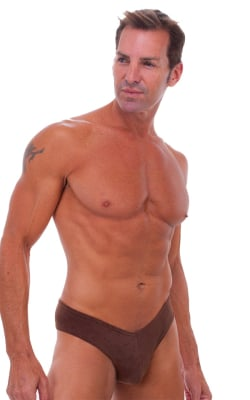Mens Hot Pants Sexy Short Shorts in Saddle Brown Suede