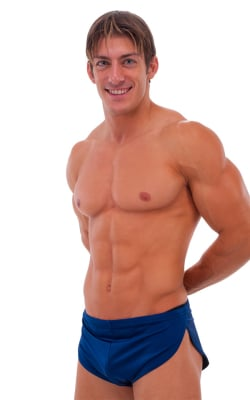 Swimsuit Cover Up Split Running Shorts in Navy Blue
