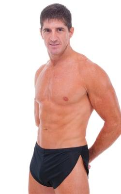 Swimsuit Cover Up Split Running Shorts in Black PowerNet