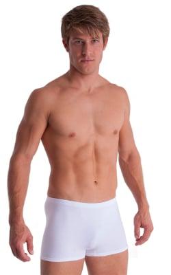Boxer Length Underwear in White cotton/lycra