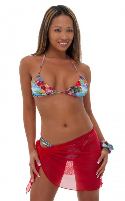 Sarong Wrap Beach Cover Up in Red Stretch Mesh