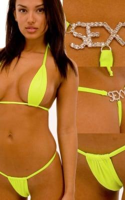 59b79f8463 Womens Sexy Teardrop Swimsuit Top in Chartreuse