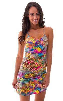 Beach Cover Up Flare Mini Dress in Neon Dali satin-lycra
