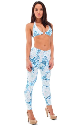 Womens Leggings - Fashion Tights in Pool Party Hibiscus