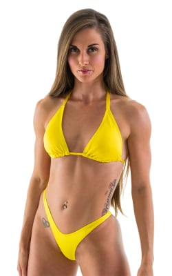 High Cut Brazilian Scrunchie Posing Suit Bottom in Citron - Bikini Cut