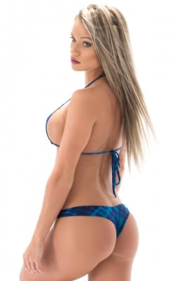 blue animal print thong bikini