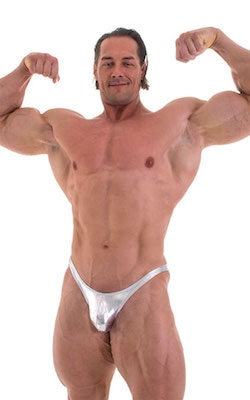 Fitted Pouch - Puckered Back - Posing Suit in Metallic Liquid Chrome