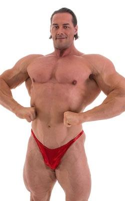 Bodybuilder Posing Suit - Narrow Back in Metallic Volcano Red