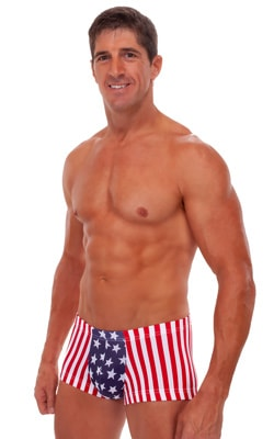 Square Cut - Fitted - Watersports Swim Trunks in Stars and Stripes