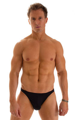 Bikini-Brief Swimsuit in Black tricot-nylon-lycra