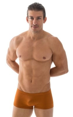 Extreme Low Square Cut Swim Trunks in Coppertone