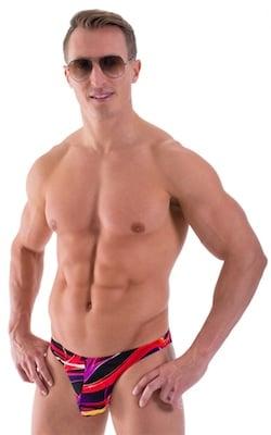 Large Pouch Swimsuit Bikini in Fire Ribbons