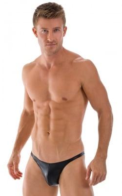 Fitted Bikini Bathing Suit in Black Rawhide Leatherlook