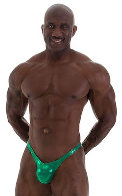 Posing Suit - Fitted Pouch - Puckered Back in Metallic Kelly Green