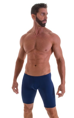 Fitted Pouch Lycra Shorts in Navy Blue