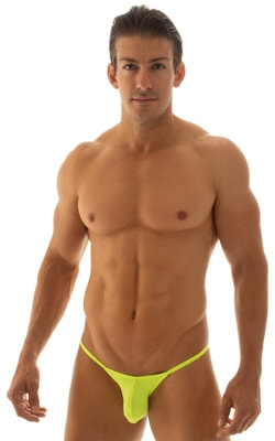 Stuffit Pouch Half Back Tanning Swimsuit in Semi Sheer ThinSkinz Neon Chartreuse