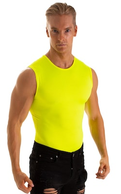 Sleeveless Lycra Muscle Tee in Chartreuse