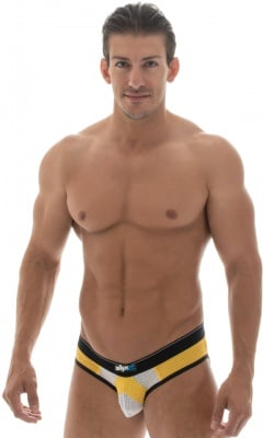 paneled mesh yellow low profile brief underwear