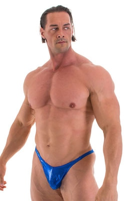 Fitted Pouch - Puckered Back - Posing Suit in Metallic Royal Blue