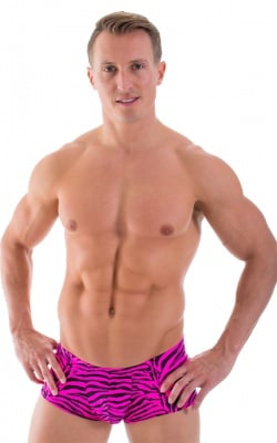 Fitted Pouch - Boxer - Swim Trunks in Hot Pink Zebra