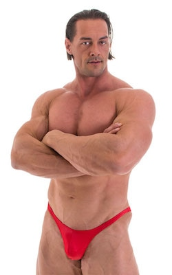 Posing Suit - Fitted Pouch - Puckered Back in Wet Look Red
