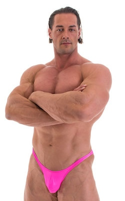 Posing Suit - Fitted Pouch - Puckered Back in Wet Look Hot Pink