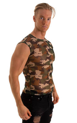 Sleeveless Lycra Muscle Tee in Camo Stretch Mesh