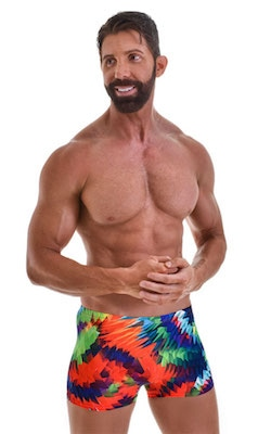 Square Cut Seamless Swim Trunks in Spectrum