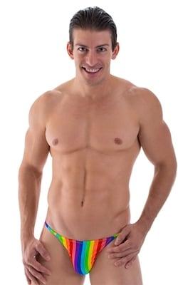 Super Low Brazilian Bikini in Rainbow Stripe