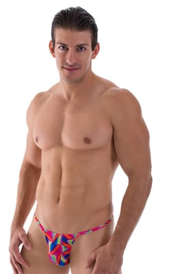 Smooth Pouch Skinny Sides Swim Thong in Semi Sheer ThinSKINZ Watercolors