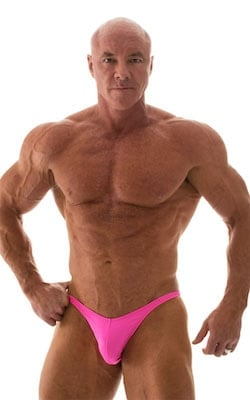 Fitted Pouch - Puckered Back - Posing Suit in Wet Look Hot Pink