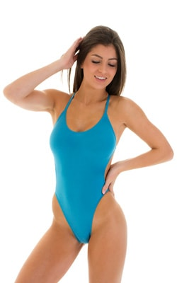 One Piece Swimsuit  Criss Cross Rio in Semi Sheer ThinSkinz Sapphire