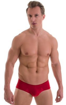 Pouch Enhanced Micro Square Cut Swim Trunks in Semi Sheer ThinSkinz Red