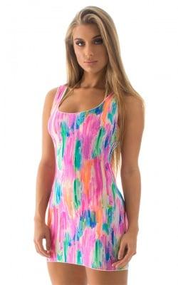 Micro Mini Dress in Semi Sheer Radiance Watercolor Strokes