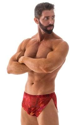 Swimsuit Cover Up Split Running Shorts in Red Rose Mesh