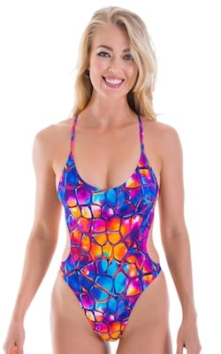 One Piece Swimsuit Criss Cross Rio in Tan Through Kaleidoscope