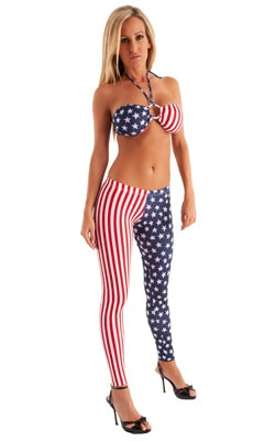Womens Low Rise Leggings - Fashion Tights in American Stripes