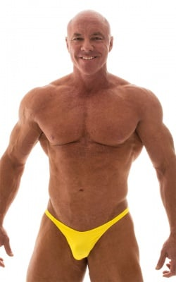 Bodybuilder Posing Suit - Narrow Back in Wet Look Yellow