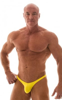 Posing Suit - Fitted Pouch - Puckered Back in Wet Look Yellow