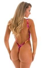 Zipper Front High Cut One Piece Thong in Beach Tiger Pink 2