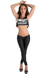 Womens Super Low Rise Fitness Leggings in Black Neoprene 1