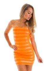 Mini Strapless Bodycon Dress in Tangerine Satin Stripe 1