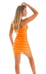 Mini Strapless Bodycon Dress in Tangerine Satin Stripe 2