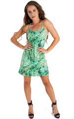 Cover Up Mini Dress in Jade Marble 3